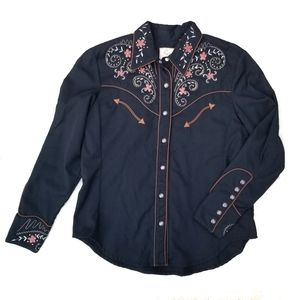 Scully western pearl snap shirt embroidery medium